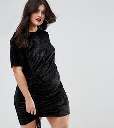 Бархатное платье с присборенной драпировкой Boohoo Plus - Черный