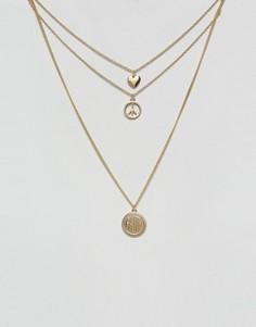 Ожерелье в несколько рядов с отделкой Monki - Золотой