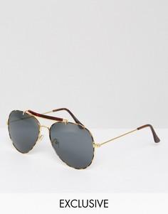 Солнцезащитные очки-авиаторы в золотистой оправе Reclaimed Vintage Inspired - Серебряный