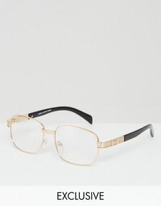 Золотистые квадратные очки с прозрачными стеклами Reclaimed Vintage Inspired - Золотой
