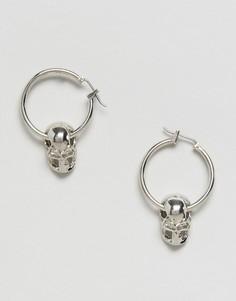 Миниатюрные серьги-кольца с черепом DesignB London Halloween - Серебряный