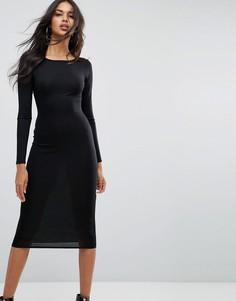 Платье миди с длинными рукавами Boohoo - Черный
