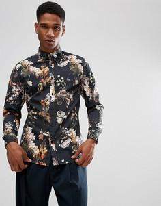 Облегающая рубашка с принтом Selected Homme - Черный