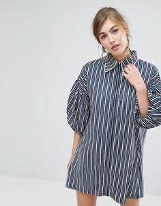 Платье-рубашка в полоску с молнией Sister Jane - Темно-синий