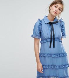 Чайное платье с оборками Sister Jane - Синий