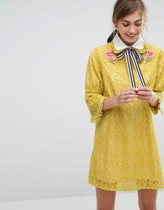 Платье мини с вышивкой Sister Jane - Желтый