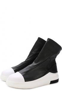 Высокие кожаные кеды без шнуровки на толстой подошве Cinzia Araia