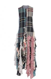 Платье-миди в клетку с оборками J.W. Anderson