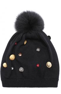 Шерстяная шапка с декором и меховым помпоном Dolce & Gabbana