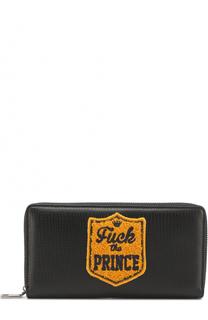 Кожаное портмоне на молнии с аппликацией Dolce & Gabbana
