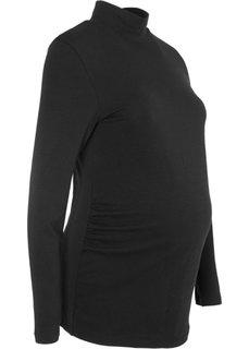 Для будущих мам: футболка с воротником-стойкой (черный) Bonprix