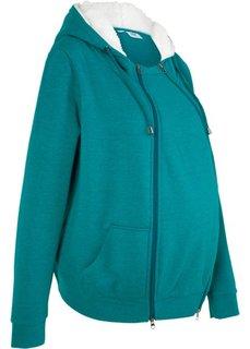 Мода для беременных: триктажная куртка с защитной вставкой для малыша (бирюзовый меланж) Bonprix