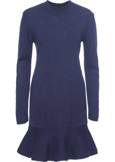 Вязаное платье с воланами (темно-синий) Bonprix