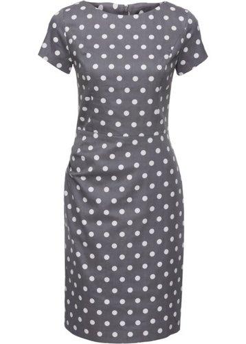 Платье (серый/белый в горошек)