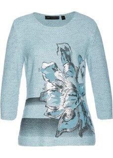 Пуловер (синий лед/черный/серебристый меланж) Bonprix