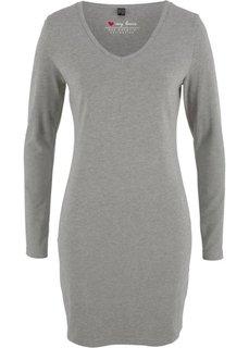 Трикотажное платье-стретч с длинным рукавом (серый меланж) Bonprix