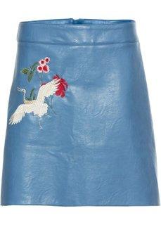 Юбка из искусственной кожи с вышивкой (синий) Bonprix