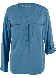 Блуза-рубашка с длинными рукавами (синий) Bonprix