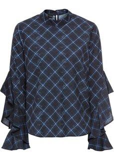 Блузка с воланами (синий/черный в клетку) Bonprix