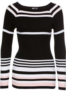 Пуловер (черный/белый/розовый кварц в полоску) Bonprix
