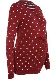 Мода для беременных: кардиган в горошек (красный каштан) Bonprix