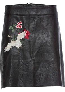 Юбка из искусственной кожи с вышивкой (черный) Bonprix