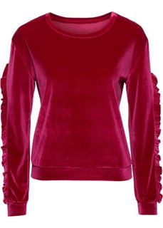 Бархатная футболка (красный) Bonprix