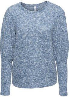 Вязаная футболка (меланжевый индиго) Bonprix