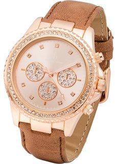 Наручные часы с аппликацией из страз (коричневый/розово-золотистый) Bonprix
