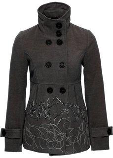 Полупальто (серый меланж с вышивкой) Bonprix