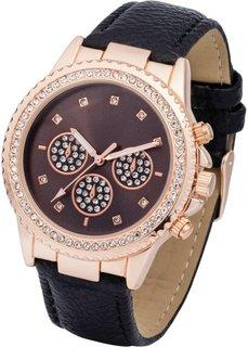 Наручные часы с аппликацией из страз (розово-золотистый/черный) Bonprix