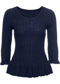 Вязаная футболка с воланами (темно-синий) Bonprix