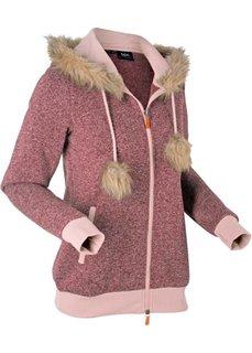 Вязаная флисовая куртка с длинным рукавом (кленово-красный меланж) Bonprix