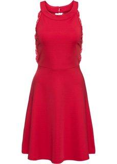 Трикотажное платье с кружевом (красный) Bonprix