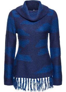 Пуловер с бахромой (красный в поперечную полоску) Bonprix