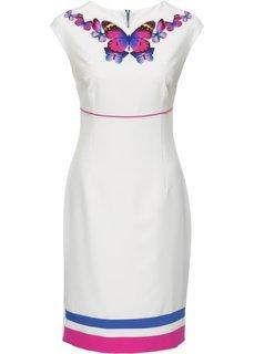 Платье с принтом (кремовый/цветной) Bonprix