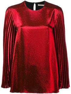 блузка из ламе с плиссированными рукавами Christopher Kane