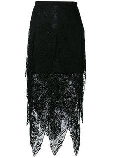 сетчатая юбка-миди с неровным подолом Christopher Kane