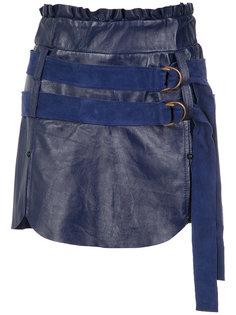 belted leather skirt Andrea Bogosian