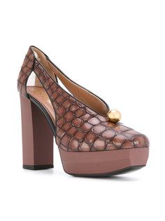 туфли с эффектом крокодиловой кожи Pollini