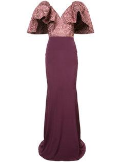 V-neck oversized sleeve mermaid dress  Christian Siriano