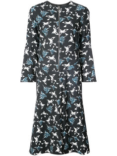 zip front dress with flared sleeves Christian Siriano