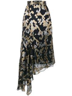асимметричная юбка миди с узором из люрекса  Peter Pilotto