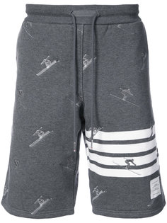 Classic Sweatshort In Quilted Loopback Cotton With Skier Embroidery Thom Browne