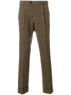 клетчатые твидовые брюки с подвернутыми манжетами Mp  Massimo Piombo