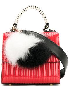мини сумка с помпоном из кроличьего меха Les Petits Joueurs