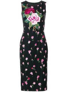 платье с принтом и аппликацией роз Dolce & Gabbana