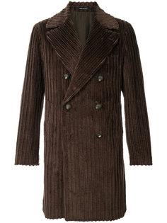 двубортное вельветовое пальто  Tagliatore