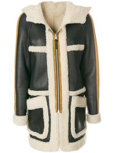 пальто с мехом ягненка Coach
