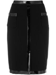 юбка-карандаш с виниловой отделкой  Moschino